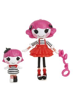 Mini Lalaloopsy™ Charlotte Charades™ was sewn from a mime's gloves. She's a real performer who never talks, but always has a lot to say. She loves the colors black and white, but her favorite color is see-through! She has an invisible pet. <br/><br/> <b>Sewn On Date:<br/> April 14th (International Moment of Laughter Day) </b> <br/><br/> Mini Lalaloopsy Little™ Sherri Charades™ was sewn from a mime's gloves. She's super-mischievous but very quiet. She loves playing jokes, practicing her silly…