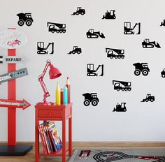 Construction Wall Decals Construction Vehicles Wall Decal