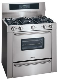 """A full 36"""" range would be great, but they are expensive. An inexpensive compromise unit like this would make a later upgrade easier. This one has a self-cleaning oven and a gas-on-glass cooktop."""