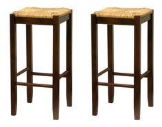 Bar Stool, Rush Seat Walnut Finish Set of 2 Set of 2 contemporary Rush Seat wood bar height stools in walnut finish. Buy Bar Stools, Cool Bar Stools, Counter Stools, Home Bar Furniture, Wicker Furniture, Entry Furniture, Wicker Dresser, Wicker Headboard, Wicker Bedroom