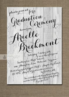 Rustic Graduation Ceremony Invitation By DigibuddhaPaperie On Etsy 2000