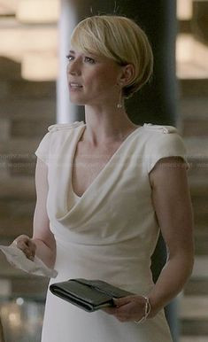 Margaux's white cowl neck dress on Revenge.  Outfit Details: http://wornontv.net/39158/ #Revenge