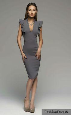 Woman Mini Dress Pencil Grey Elegant Knee por FashionDress8