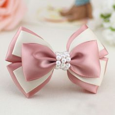 Forwell Handmade bowknot hair accessories for women string of beads pink and white compound bow hairpins headwear hair ornaments Ribbon Hair Bows, Diy Hair Bows, Diy Ribbon, Ribbon Crafts, Ribbon Flower, Diy Crafts, Hair Bow Tutorial, Flower Tutorial, Handmade Hair Bows