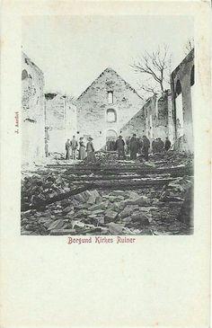 Møre og Romsdal fylke Aalesund Borgund kirkes ruiner etter brannen i 1904 Utg J. Aarflot