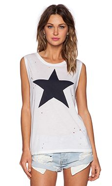 SUNDRY Star Muscle Tee in White