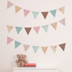 Woodland Bunting - Nursery Wall Decals - Wall Decals - Wall Decor - by Tinyme Bedroom Bunting, Kids Bedroom, Bedroom Ideas, Wall Decor Stickers, Nursery Wall Decals, Wall Appliques, Toy Rooms, Flag Decor, Baby Decor