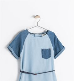 Image 3 of DENIM DRESS WITH CONTRASTING SLEEVES from Zara