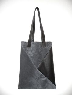 Geometric leather tote bag from Musterstueck, $128.