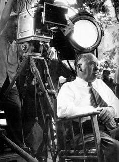 Alfred Hitchcock on the set of Vertigo.