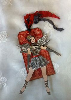 Christmas Art Tag Ornament Articulated Paper Doll by ParisPluie,