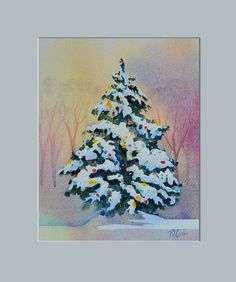 Christmas Tree Painting - Happy Holidays New watercolor of a evergreen tree with snow and lights. artist PJ Cook SOLD.