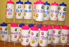 Personalized Water Bottles...since we will probably never find our girls' names!