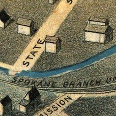 Birdseye #map of #Pendleton, #Oregon (1890)