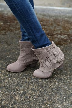 Laser Cut Boots | Taupe Booties | Naughty Monkey | Shop Hoity Toity for Fall boots