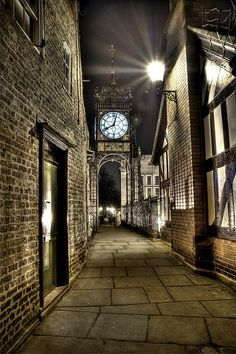 Eastgate Clock at night, Chester, England