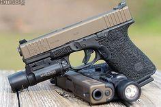 Glock 19 - I do like the look and feel of the innovative Glock platform Glock Guns, Weapons Guns, Guns And Ammo, Glock Stippling, Battle Rifle, Lethal Weapon, Cool Guns, Modern Warfare, Firearms