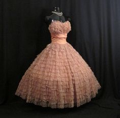 Vintage 1950's 50s STRAPLESS Bronze Copper Tiered Lace Taffeta Tulle Circle Skirt Party Prom Wedding DRESS Gown