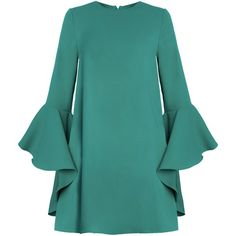 Green Ruffled Bell Sleeve Dress by New Revival ($122) ❤ liked on Polyvore featuring dresses, green baby doll dress, ruffle dress, bell sleeve dress, blue babydoll dress and babydoll dress