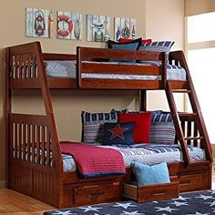 Find the perfect twin over full wood bunk bed at Mom's Bunk House. We carry numerous beautiful wood bunk beds for sale, like this rich Merlot finished bed. Bunk Beds With Drawers, Wooden Bunk Beds, Bunk Beds With Storage, Bunk Beds With Stairs, Kids Bunk Beds, Bed Storage, Drawer Storage, Loft Beds, Bed Stairs