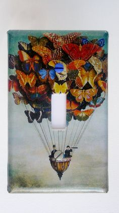 Butterfly Balloon Travel: Decorative Light Switch Cover - Single Toggle