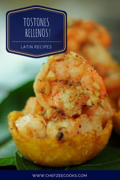 Tostones Rellenos de Camarones are Tostones filled with Garlic Shrimp. These tasty bites are great for guests especially as an appetizer. Give your Spanish Food a fun twist as you serve up these amazing finger foods. It won't disappoint! Cuban Recipes, Portuguese Recipes, Shrimp Recipes, Portuguese Food, Desert Recipes, Dinner Recipes, Dominican Food, Dominican Recipes, Garlic Shrimp