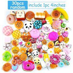 30pcs Squishies Slow Rising Jumbo/Medium/Mini Squishies Fruit/Cake/Panda/Bun/Animal Squishies Food Donuts With Phone Straps Stress Relief Toys Randomly (30 pcs squishies)
