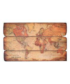 Another great find on #zulily! Brown World Map Wall Art #zulilyfinds