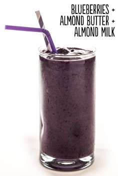 Blend ¾ cup frozen blueberries, 1 tablespoon almond butter, and ½ cup unsweetened almond milk until smooth. Serves 1.    Extras: Add 2 tablespoons unsweetened, shredded coconut, a peeled frozen banana, 1 teaspoon pure vanilla extract, 2 tablespoons rolled oats, ½-inch piece peeled, fresh ginger, or 2 tablespoons flax