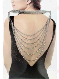 Young & The Restless Chloe Cascading Silver and Rhinestone Over-The-Shoulder Back Necklace