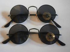2 x Lunettes de soleil rondes style 70 70s verres retro hippie goa noires