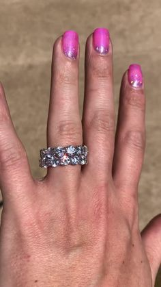 This round cut eternity ring is so pretty, but it is even better stacked with another or other rings!!! Look at that sparkle! Gold Engagement Rings, Diamond Wedding Rings, Halo Engagement, Lab Created Diamond Rings, Lab Created Diamonds, Simulated Diamond Rings, Eternity Ring, Wedding Sets, How To Do Nails