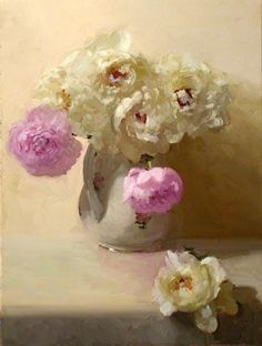 Dennis Perrin. Pink and Cream Peonies oil on canvas