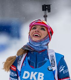 Gabriela Koukalova of Czech Republic reacts after placing second in the women´s 10 km pursuit race of the IBU Biathlon World Cup in Oberhof, eastern Germany, on January 7, 2017. / AFP / ROBERT MICHAEL