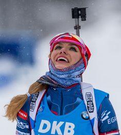 Gabriela Koukalova of Czech Republic reacts after placing second in the women´s 10 km pursuit race of the IBU Biathlon World Cup in Oberhof, eastern Germany, on January 7, 2017. / AFP / ROBERT MICHAEL