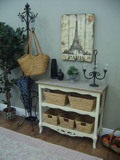 Shabby Chic French Style CREAM Hall CONSOLE TABLE Shelves Sideboard Bookcase | eBay