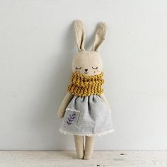 Best 10 Nice bunny doll with blue dress and yellow scarf. She wears organic cotton and hemp dress, and a pocket with a leaf motif stamp. Yellow scarf of organic cotton dyed with natural way. Stuffed with soft hypoallergenic cotton. Details of her face Fabric Toys, Fabric Crafts, Sewing Dress, Eco Friendly Toys, Creation Couture, Little Doll, Sewing Toys, Soft Dolls, Handmade Toys