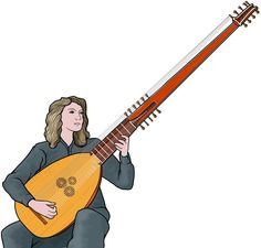 playing the Chitarrone / European period instrument.
