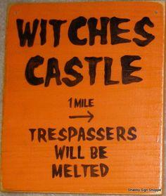 WITCHES CASTLE Orange Black HaPPy HaLLoWeeN Sign Wood U-Pick Color Plaque