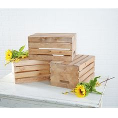 "Hubs to be could very easily make these with all that ""scrap"" wood he throws out. Stained Wood CratesStained Wood Crates"