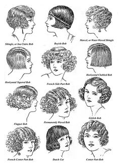 A selection of Bobbed Hairstyles from the 1920s. Learn how to recreate the bobbed hairstyles that were popular during the 1920's. With the aid of 119 clear illustrations and photos, a leading 1920's hair stylist will teach you the methods he used to create bobbed hair for his customers. Tapering, layering, shingling and other techniques are covered. 1920-30.com/publications/hairstyles/ #hairstyles #hairstyling