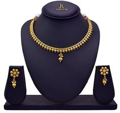 JFL - Traditional Ethnic One Gram Gold Plated Delicate Designer Necklace Set for Women & Girls Pearl Necklace Designs, Jewelry Design Earrings, Gold Earrings Designs, Fashion Jewelry Necklaces, Girls Jewelry, Gold Necklace Simple, Gold Jewelry Simple, Necklace Set, Gold Bangles Design