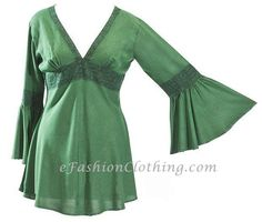 eFashionClothing // Ruby Romantic Flared Caftan Tunic Top - Size Small Green Jade - $23.99