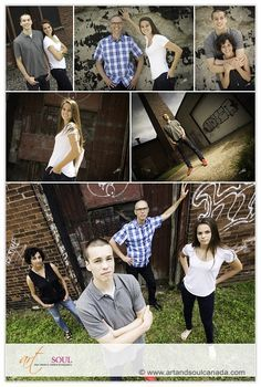 A fun session with older 'kids' - a graffiti wall is a great backdrop for a bit of grunge and attitude!  Capturing different combinations such as father/daughter and mother/son as well as unique individual characther studies make for a varied and creative collection of images too.   Photography by Art and Soul | www.artandsoulcanada.com