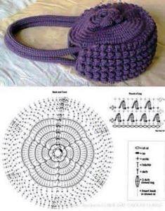 """diy_crafts-Bolso de mano """"DIY Crochet Handbag DIY Crochet Handbag by diyforever"""", """"Free Crochet Bag Pattern (diagrams/charts only). Bag Crochet, Crochet Shell Stitch, Crochet Gratis, Crochet Handbags, Crochet Purses, Crochet Stitches, Free Crochet, Purse Patterns, Knitting Patterns"""