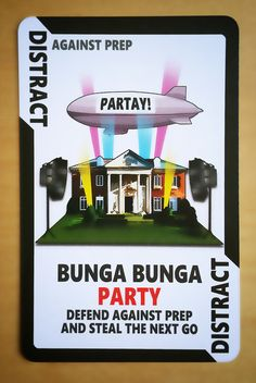 Cartoon Card Game Card from Political Suicide The Game! Bunga Bunga Party https://www.etsy.com/uk/listing/465469917/political-suicide-the-card-game