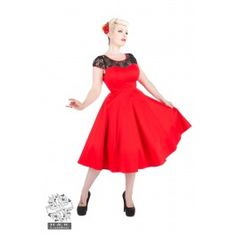 Robe Pin-Up Rétro 50's Rockabilly Rouge Dentelle