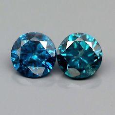 0.18 ct. Zertifiziertes Paar 2.8 mm Fancy Blue Afrika Brillanten, P-2 Fancy, Colored Diamonds, Natural Gemstones, Blue, Gemstones, Universe, Minerals