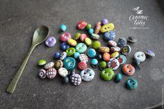 Купить Миниатюрные пуговицы 3-6мм. Авторская керамика - комбинированный, цветной, разноцветный, пуговицы