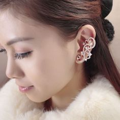 Rhinestone Swirl Wrap Cuff Earring
